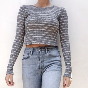 BRANDY MELVILLE Ribbed Knit Long-sleeve Top